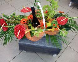 Infiniment fleurs - Landerneau - Composition exotique 3 (bouteille fournie par la cliente)