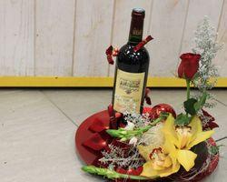 Infiniment Fleurs - Landerneau - Composition de noël 1 (bouteille fournie par la cliente)